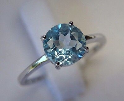 Solitaire Genuine Natural Sky Blue Topaz Solid 925 Sterling Silver Ring 7-9 O-S