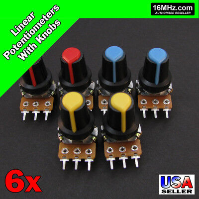 6x 1K OHM Linear Taper Rotary Potentiometers B1K POT with Black Knobs 6pcs U22