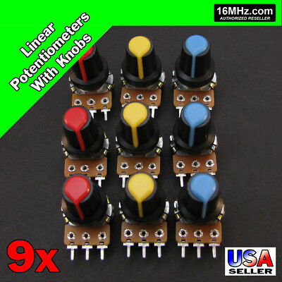 9x Linear Potentiometer Assortment 1K 2K 5K 10K 20K 50K 100K 500K 1M w/ Knob X38