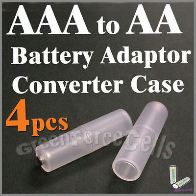 4 pcs battery Adaptor Converter Case Holder for AAA R03 to AA LR6 Size