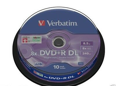 10 DVD+R VERBATIM 8X DL DUAL LAYER 8,5 GB Double XboX 360 VUOTI AZO 43666