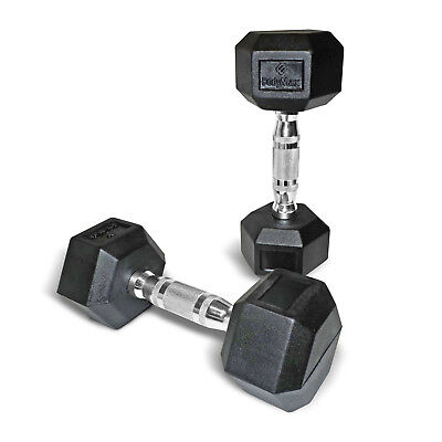 Bodymax Rubber Hex Dumbbells - Select Individual Pairs 1kg - 30kg