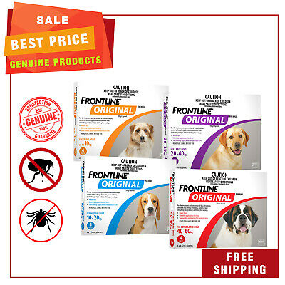 Frontline Original for Dogs 4 Pipettes All sizes Flea & Tick Treatment by Merial