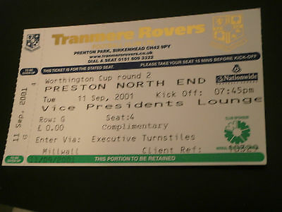 Tranmere Rovers v Preston 11th Sept 2001 Worthington Cup 2nd Rd Ticket