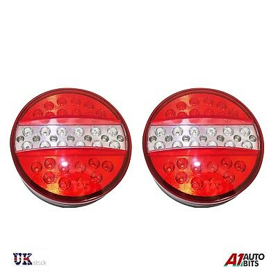 1 Pair 12V Rear Led Lights Stop Tail Indicator Reverse Trailer Truck 4 Function