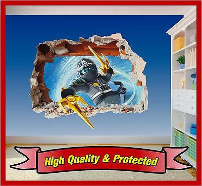 Lego Ninjago Zane Hole in Wall - Printed Vinyl Sticker Decal Childrens Bedroom
