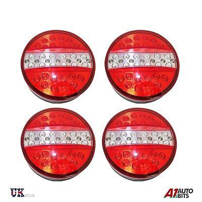 2 Pairs 12V Rear Led Lights Stop Tail Indicator Reverse Trailer Lorry 4 Function