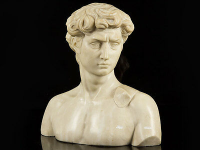 c1800 Carved Marble Bust of David by Michelangelo