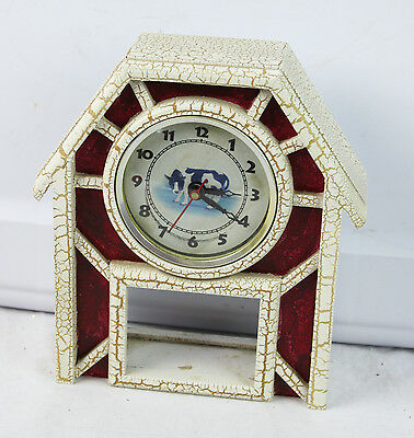 "Vintage Painted Wood White Cow Clock Quartz Movement Red Farmhouse Small 7"" Tall"