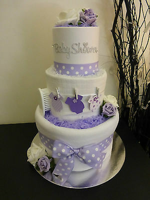 3 Tier Lilac Unisex 'Washing line' Nappy Cake. New Baby/Shower Gift