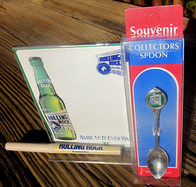 3 Rolling Rock Beer Items: Table Tent, Pewter Demitasse Spoon & Pen Latrobe PA