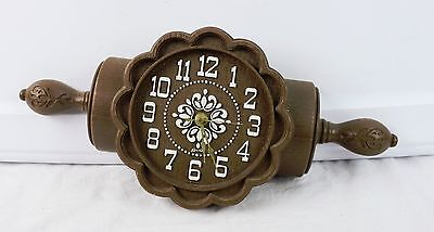 Vintage Plastic Molded Rolling Pin Flower Wall Clock Made In USA Quartz Movement