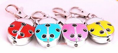 Wholesale 10 pcs Cute Ladybug Hole Key Ring Pocket Watches 4 colors USF74