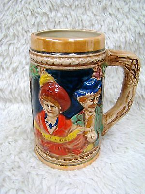 Lightweight German? Stein People w/Hats/Cottage Handpainted Picture, Collectible