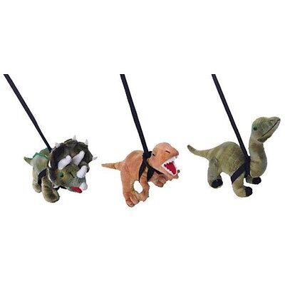 Triceratops Dinosaur On A Lead Soft Toy Green