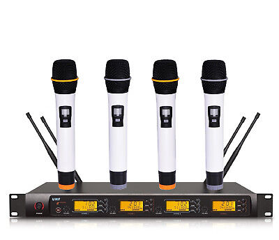 Professional 4 Channel 4 Handheld Mic UHF Wireless Cordless Microphone Church