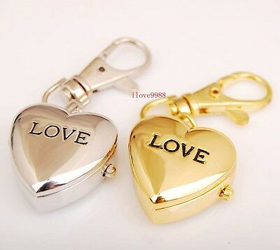 Wholesale 10 pcs New Love Heart Key Ring pocket Watches quartz Xmas gifts USK33