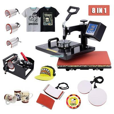 8 In 1 Swing Away Heat Press Machine Transfer Sublimation T-Shirt Cup Hat Mug