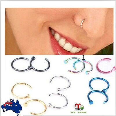 Nose Piercing Titanium Anodized Steel Clip Open Hoop  Rings Body Ring Jewelery