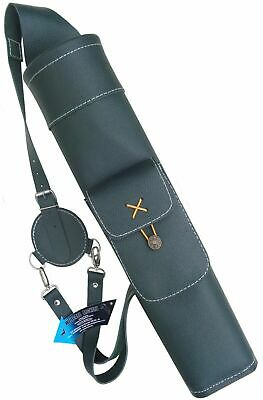 New Mild Green Leather Back Side Quiver  front Pocket Archery Products AQ118MG