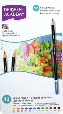 Derwent Academy Colour Pencils – Tin Set12 (Made in UK)