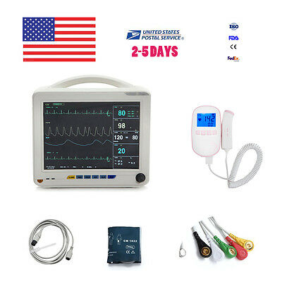 "Portable 12"" TFT ICU CCU 6-parameter Patient Monitor ECG NIBP SPO2 TEMP RESP PR"