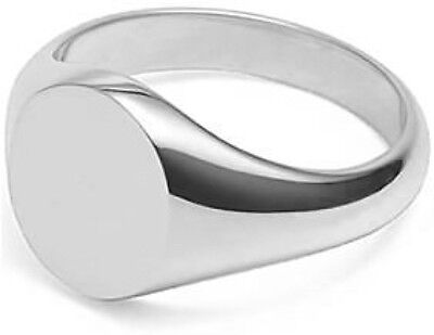 Sterling Silver Oval Signet Ring in Size G,H,I,J,K,L,M,N,O,P,Q,R,S,T,U,V,W,X,Y,Z