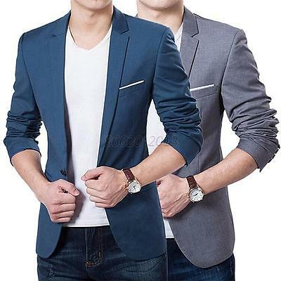 New Stylish Men's Casual Slim Fit One Button Suit Blazer Coat Jacket Tops G45