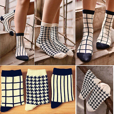 New Unisex Casual Cotton Plaid Socks Design Fashion Dress Mens Women's Socks