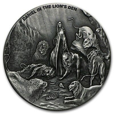 2016 Biblical Series Daniel In The Lion's Den 2 oz .999 Silver Antiqued US Coin
