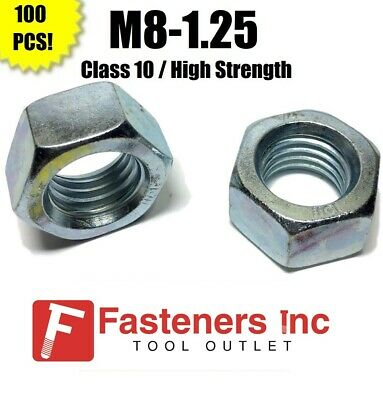 (Qty 100) M8-1.25 Metric Finished Hex Nuts Class 10 Zinc Plated 8MM-1.25