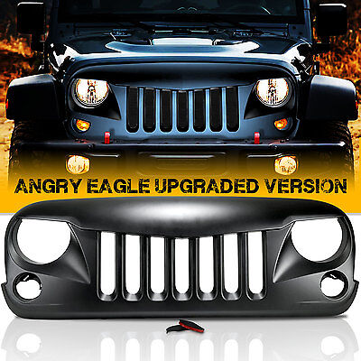 Angry Bird Front Matte Grill Grille For Rubicon Sahara JK Jeep Wrangler 2007-16
