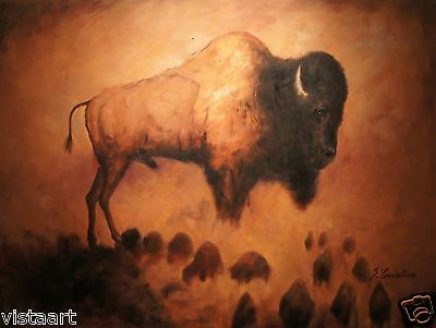 "High Quality Oil Painting on Canvas 30""x40"" - Mighty Brown Bison"