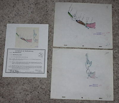 "2 Original Production Animation Drawings"": Disney 1950 ""hold That Pose"" Cartoon"