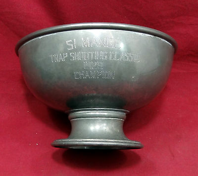 "Pewter Trap Shooting Trophy Dated 1929, ""Champion"", 9"" Diam. Marked Barton"