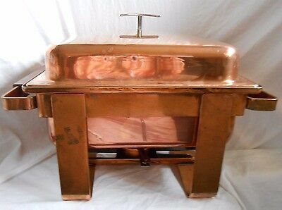 Pre-owned 7 Pieces Copper & Stainless Chafer w/ Lift-Off Lid, Square Fuel Holder