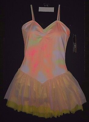NWT BODY WRAPPERS P736  Camisole Mesh Skirted Leotard Dress Peach Yellow Pink