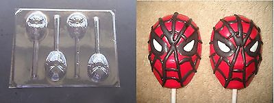 SPIDERMAN FACE Chocolate Candy Soap Clay Lollipop Mold RARE