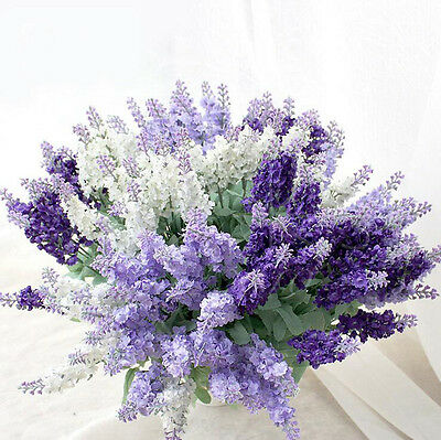 10 Flower Heads Artificial Lavender Fake Flower Bunch Wedding Party Home Decor