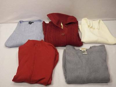 5 Pc Lot Women's S Small XS Sweater Talbots New York & Co Venini red white gray