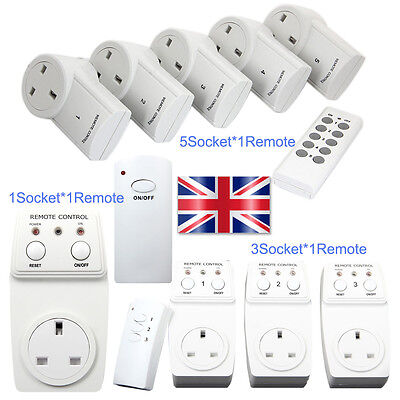 1/3/5 Remote Control Sockets Wireless Switch Home Mains UK Plug AC Power Outlet