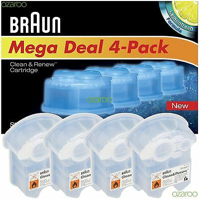 Braun CCR4 Clean and Renew Mens Electric Shaver Hygienic Refill Cartridge 4 Pack
