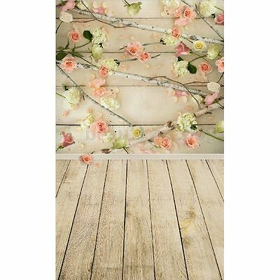 3x5FT Flower Brick Wall Wood Floor Photography Backdrops Studio Background New