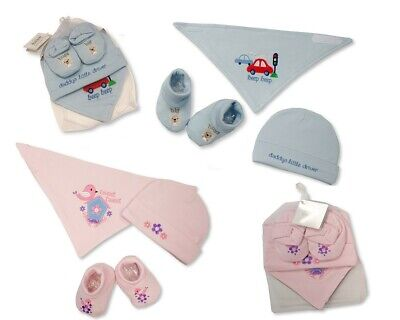 Baby Bib, Hat and Booties Cotton Gift Set  in Mesh Bag- Boys/Girls - 122s/122p