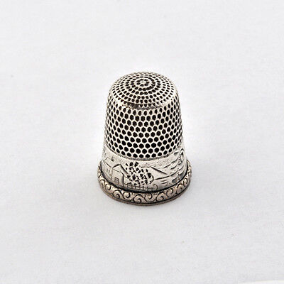 Antique Lovely Sunny Scenes of House & Trees Motif on Sterling Thimble Size 10