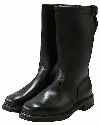 New Genuine Leather Black German Military Boots