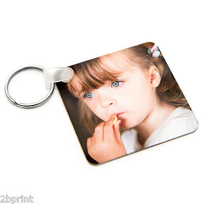 PERSONALISED YOUR PHOTO SQUARE METAL DOUBLE SIDED 57x57 KEYRING GIFTS