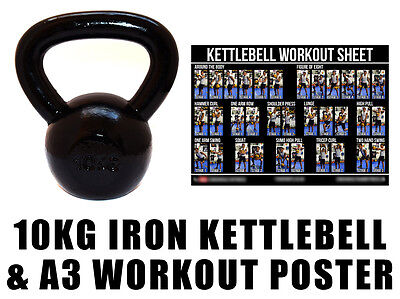 Fxr Sports Cast Iron Kettlebell Strength Training Home Gym Fitness 10Kg + Poster
