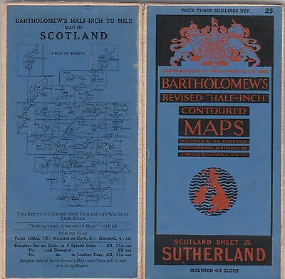 Bartholomews Linen Map Of Sutherland, Scotland Sheet 25-1930's?