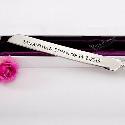 Personalised Engraved Crystal Stem Cake Knife in Gift Box Wedding Present Unique